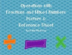 This is an 8-page document that contains reminders and steps that students can follow when they are solving different operations with fractions and mixed numbers.  These can be placed around the room with little hints (ex: K.C.F.   Keep, Change, Flip & M.A.D.
