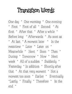 Totally Terrific in Texas: Transition Words