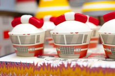 Fire Truck Cupcakes, Fire Cupcakes and more Fire Truck themed party ideas