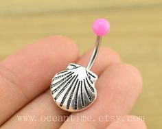 shell Belly Button Rings,sea shell belly button jewelry,hot pink Navel Jewelry,friendship belly button jewelry on Etsy, $4.99