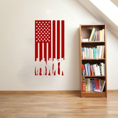 American Flag with Soldier Silhouettes Vinyl Wall Words Decal Sticker Graphic