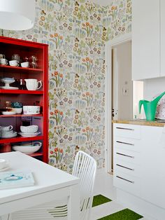 I love the wallpaper on a focal wall. It's half cute half grandma which is totally my style!