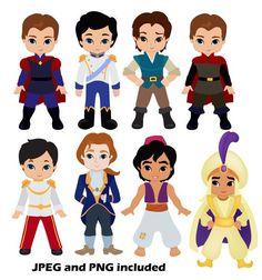 50 Princes Digital Clipart / Fairytale Princes by SandyDigitalArt (plushie inspiration) Disney Princess Birthday, Baby Princess, Princess Party, Felt Dolls, Paper Dolls, Cute Clipart, Disney Scrapbook, Disney Crafts, Baby Disney