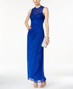 Xscape Sleeveless Lace Halter Gown   macys.com