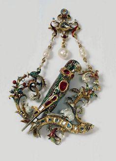 Parrot Pendant circa 1560-1570-Gold, enamel, diamonds, rubies, and pearls