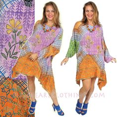 SunHeart BOHO Vintage SILK Top lagenlook tunic by SUNHEARTCLOTHING