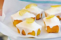 Baby lemon and coconut drizzle cakes.These little cakes are almost too cute to eat. Lemon Desserts, Lemon Recipes, Mini Desserts, Cake Recipes, Dessert Recipes, Lemon Cakes, Coconut Recipes, Party Recipes, Tea Recipes