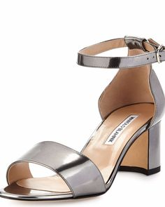 Manolo Blahnik Lauratomod Patent Ankle-Wrap Sandal, Specchio