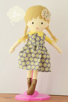 10 inches Fabric Doll with a removable dress by JEEoliver on Etsy. Price  $24.00 USD. Only 1 item available