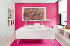 pink walls makes a beautifully inspiring office space