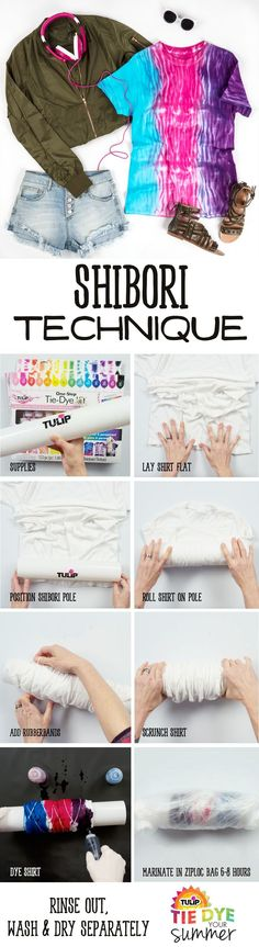 It's the season for shibori! Break out the Tulip tie dye and get a pole/pip and create this cool tie dye technique in minutes! Sewing Clothes, Diy Clothes, Tulip Tie Dye, Ty Dye, Tie Dye Techniques, Shibori Techniques, Tie Dye Party, Tie Dye Kit, Shibori Tie Dye