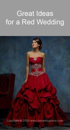 Red Wedding Gown - I could go on and on about colored wedding gowns. Love the traditional white gowns but a colored one is so bold and so beautiful. Red Wedding Gowns, Red Gowns, Colored Wedding Dresses, Bridal Dresses, Prom Dresses, Dress Wedding, Lace Wedding, Wedding Black, Orange Wedding
