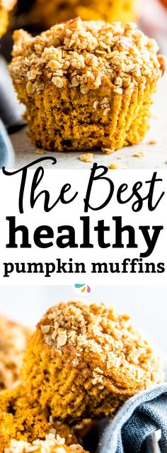 These are the BEST healthy pumpkin muffins out there! They are incredibly easy to put together and they turn out so moist with ONE ENTIRE can of pumpkin in them! The recipe uses all whole wheat flour and using the brown sugar is optional, so you can make them naturally sweetened with only honey. A simple clean muffin made from scratch (and it's up to you to add the yummy oatmeal streusel for an extra treat!) - the perfect fall, Halloween and Thanksgiving holiday treat. | #pumpkin #recipes…