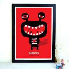 Our little monster. Perfect proportions and use of black white red in this modern monster print. Cartoon Monsters, Cute Monsters, Little Monsters, Monster Illustration, Cute Illustration, Monster Art, Art Design, Illustrations Posters, Pop Art