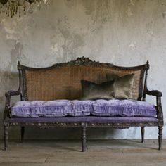 One of a Kind Vintage Settee Glam Cane Eggplant