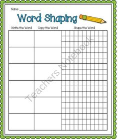 Word Shaping Paper FREEBIE product from Barnard-Island on TeachersNotebook.com