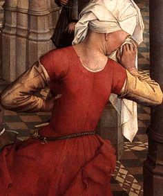 dress with pinned outer sleeves, can be used for lower classes if made of brown or gray wool or at least of not brightly coloured fabrics  (Rogier Van der Weyden, Seven Sacraments 1445-1450)