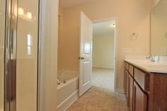 View of master bath looking in to the bedroom.