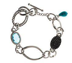 Michael Dawkins Sterling 4.95 ct. Blue Topaz Link Bracelet