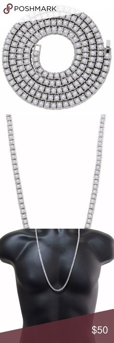 """Silver 1 Row Cz Tennis Chain 5mm 30"""" Necklace Silver Plated 1 Row Cz Link Chain 5mm Hip Hop Bling 30"""" Necklace  This iced out chain is made from brass core plated with premium plating, hypoallergenic and lead/nickel free.  It is flooded with round Cz's, each individually set by hand.  These chains are the hottest in the market right now because they make a statement.  They are perfect as stand alone chains or can be worn with any cross or pendant. Accessories Jewelry"""