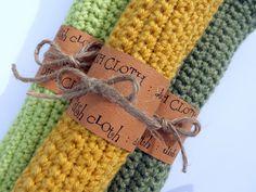 Single Crocheted Dishcloths Pattern.  A good beginner pattern.