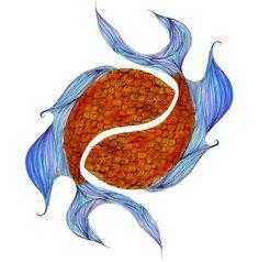 pisces art blue and orange