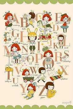 alphabet illustration, via Sanposter (Sanpo Yamada)