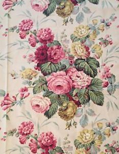 "10 yards! Vintage Cottage ROSES Barkcloth Era FINE COTTON FABRIC 47"" Vintageblessings"