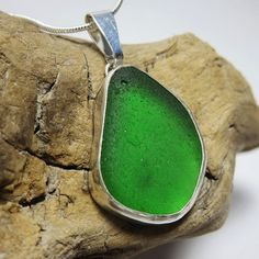 Emerald Green Bezel Set Sea Glass Necklace by SilverandSeaJewelry