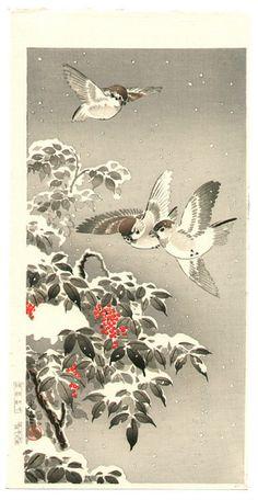 Sparrows and snow, woodblock print by Tsuchiya Koitsu, ca. 1930.