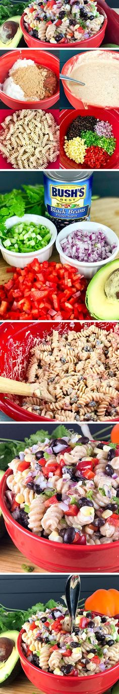 TEX-MEX PASTA SALAD is a fun twist on classic pasta salad. Loaded with fresh simple ingredients like black beans, red pepper, green onion, cilantro, corn, and avocado, and a delicious dressing, this will be your go-to pasta salad and a fun alternative to classic macaroni salad for picnics and potlucks.