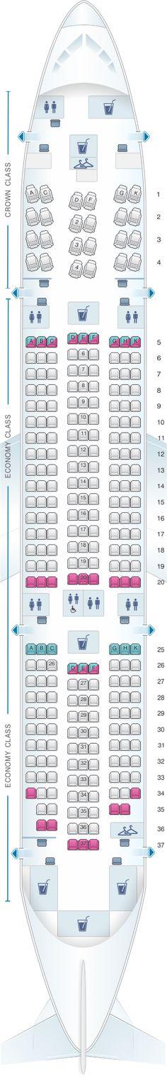 Seat Map Royal Jordanian Boeing B787-8 Dreamliner
