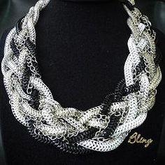 Collar Entrelazado de Metal Negro Blanco y Plateado Modelo 0116 $150 www.facebook.com/BlingMx