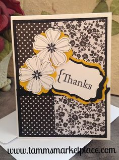 Thanks Handmade Card Stamped Flowers in Black and Yellowish Gold MKC044