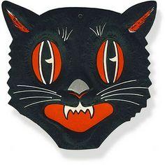 Vintage halloween cat clip art.