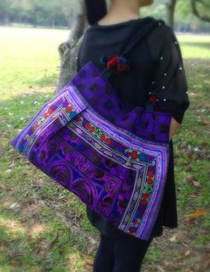 A personal favourite from my Etsy shop https://www.etsy.com/sg-en/listing/210082163/purple-hmong-embroidery-bag-boho-tote
