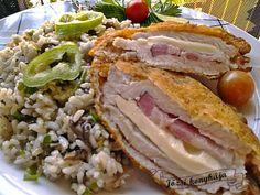 Füstölt sajttal, füstölt sonkával töltött sertésborda | Józsi konyhája Viera, Sandwiches, Beef, Pork, Meat, Paninis, Steak
