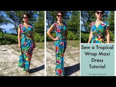 Tropical Wrap Dress maxi dress pattern hack - So Sew Easy - - Oh wow, on my summer sewing list for sure. Free pattern and tutorial on how to make this tropical wrap maxi dress pattern. Sewing Patterns Free, Free Sewing, Clothing Patterns, Free Pattern, Diy Clothing, Sewing Clothes, Barbie Clothes, Maxi Dress Tutorials, Summer Dress Patterns