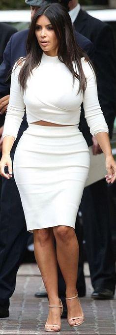 Kim Kardashian: Sweater and skirt – Jonathan Simkhai  Shoes – Prada