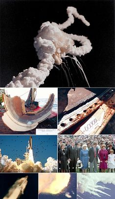 Nasa Photo montage of the Space Shuttle Challenger disaster. Date January 32 years ago Challenger Space, Space Shuttle Challenger, Challenger 1986, Hubble Space Telescope, Space And Astronomy, Nasa Space, Challenger Explosion, Historia, Astronomy