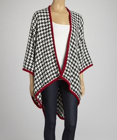 Love this White & Crimson Houndstooth Open Cape by JustJamie on #zulily! #zulilyfinds