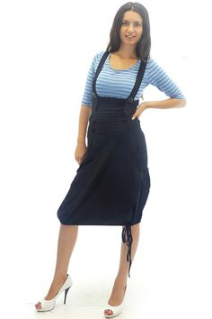 6d81d5a8e16 Jersey pinafore in black color. The straps of the pinafore are thick and  crossed on the back. On the bust they are with black buttons.
