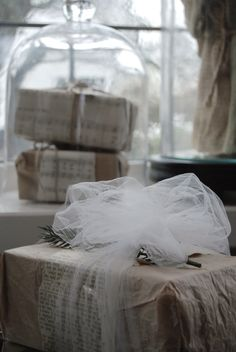 ♕ simple wrapping with tulle