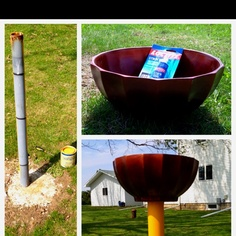 Ugly pole left over from an old satellite dish + some paint I had sitting around + a pretty bowl I found at Goodwill for $4 + outdoor epoxy = birdbath!