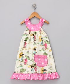 Take a look at this Pink Asian Tot Yoke Dress - Toddler & Girls by Beary Basics on #zulily today!