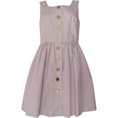 Pre-owned Orla Kiely Sleeveless Cotton Skater Dress ($69) ❤ liked on Polyvore featuring dresses, brown, ruched dress, white cotton dress, circle dress, white dresses and brown skater dress