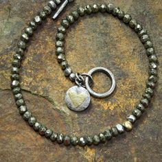Pyrite bracelet silver and 18ct gold. £64.00