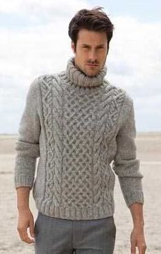 Knitting Patterns Men Sweater with Aranmuster Aran Knitting Patterns, Knitting Designs, Mens Cable Knit Sweater, Men Sweater, Viking Knit, Cool Sweaters, Sweater Outfits, Pulls, Lana