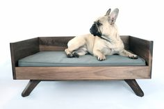 A handsome bed for a handsome pooch - Modern Wood Dog Bed - The Joey High Back Bed - Selected by Guest Pinner @xxgastronomista #gastronomista