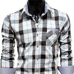 Mens casual stripe patch checker shirts